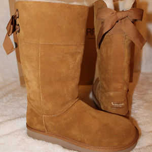 UGG KOOLABURRA TALL SUEDE FUR LINED BOW BOOTS